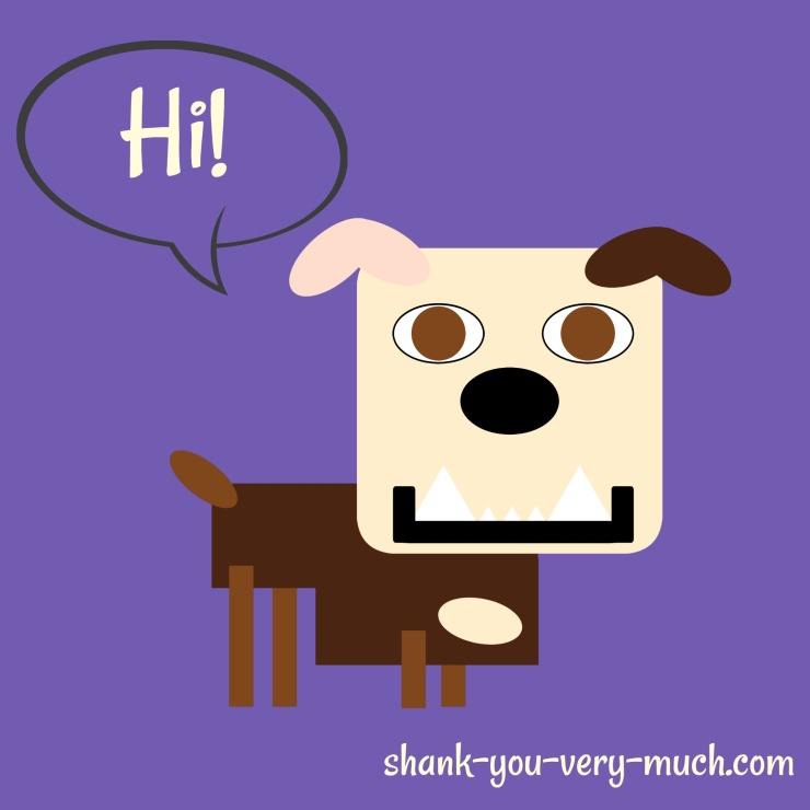 "A cartoon rendering of Lola the English Bulldog. She has a text bubble that reads ""Hi!"" above her head"