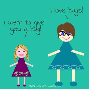 A cartoon drawing depicting a hug from my niece... she likes to hug very hard.
