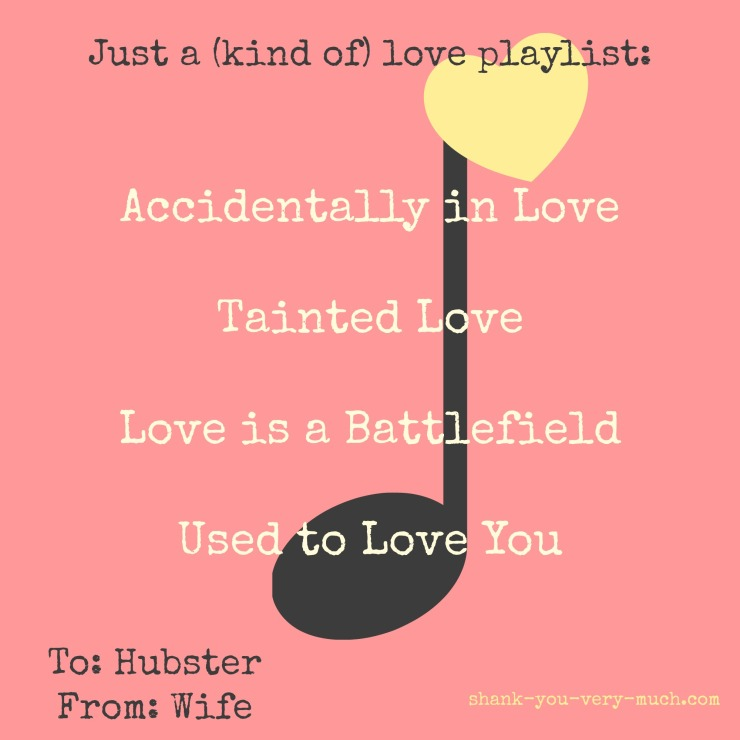 A playlist of songs that sound like love song titles but are actually about breakups and fights.