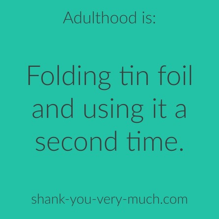 "Text box that reads ""adulthood is folding tin foil and using it a second time."""