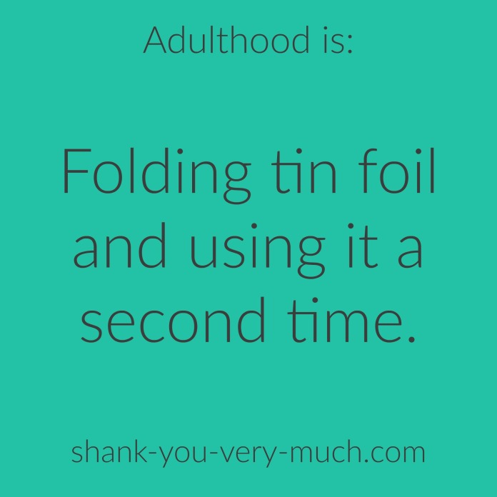 """Text box that reads """"adulthood is folding tin foil and using it a second time."""""""