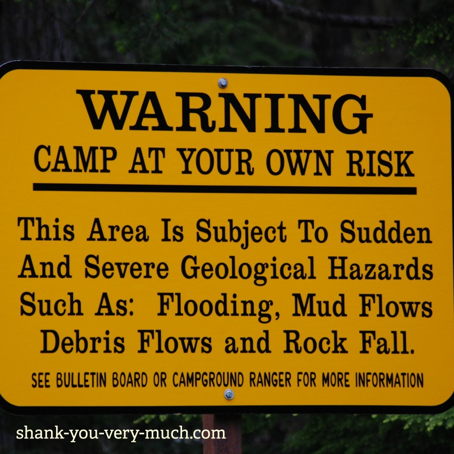 A warning sign that says