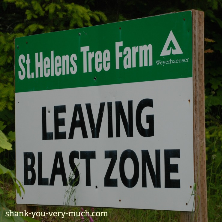 "A sign that says ""Leaving blast zone"" at Mt St. Helens volcano"