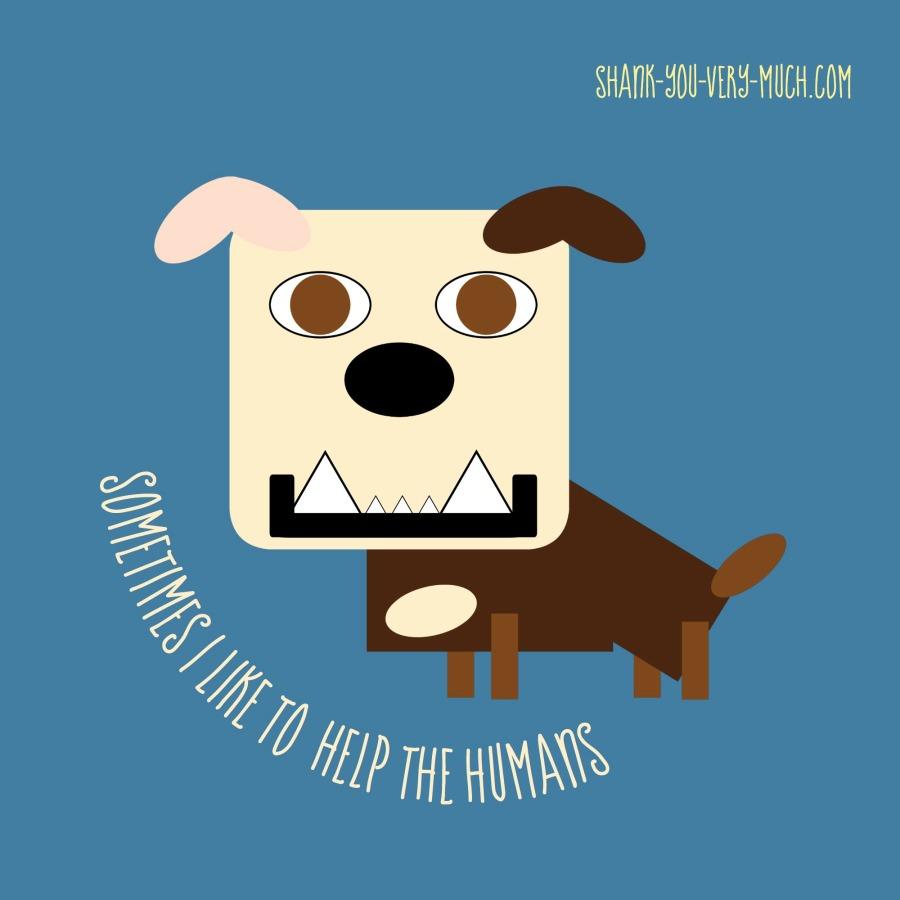A cartoon graphic of Lola the bulldog
