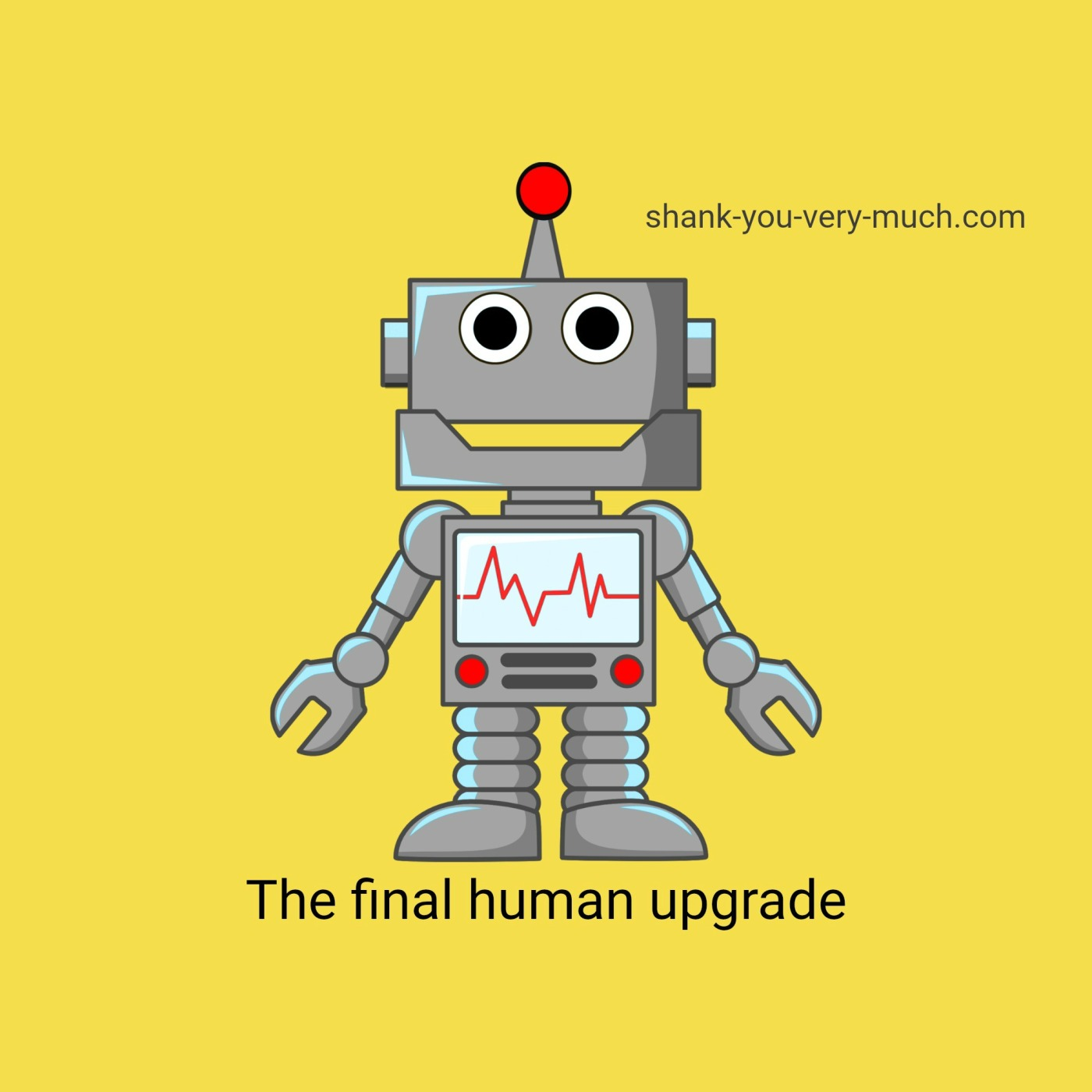 A cartoon graphic showing a smiling robot