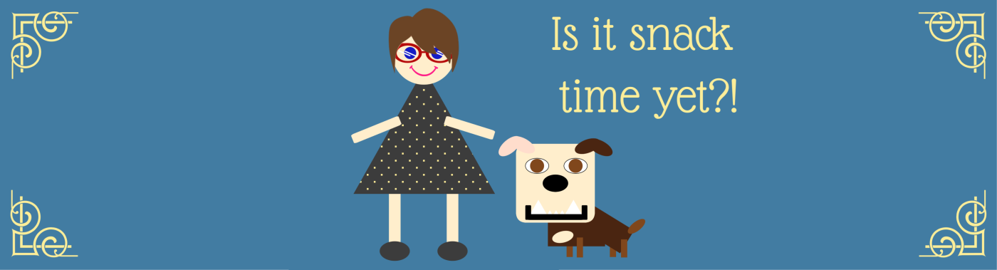 Is it snack time yet?! (shown with a cartoon of Heather and Lola)