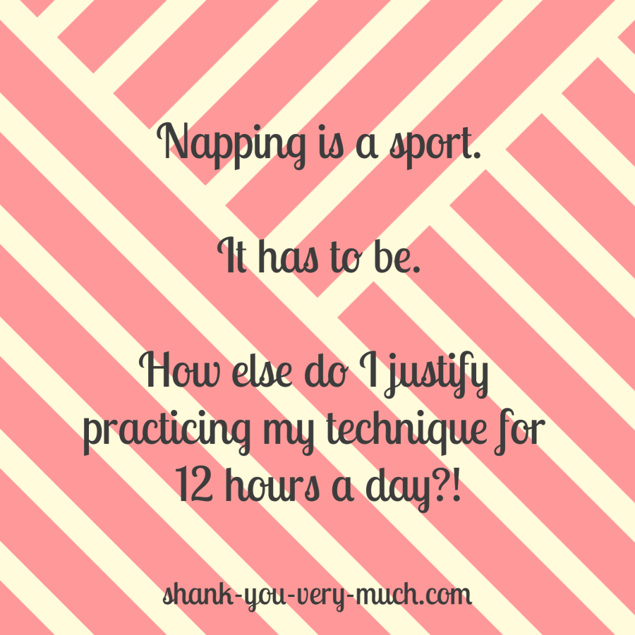 Napping is a sport. It has to be. How else do I justify practicing my technique for 12 hours a day?!