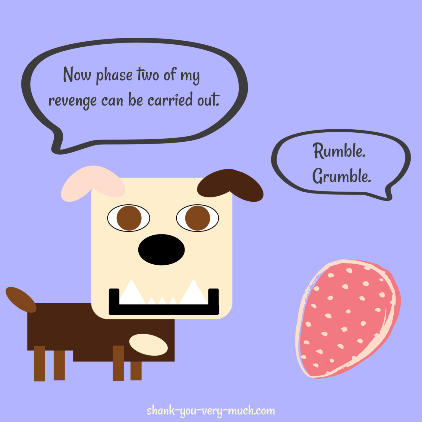 A cartoon showing Lola the English bulldog talking to a dinosaur egg. Lola says