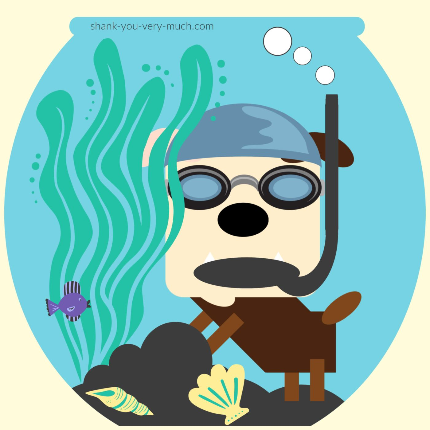 A cartoon rendering of Lola the English bulldog in a fishbowl. She's wearing a swimming cap, goggles, and a snorkel while hiding behind some seaweed. A fish stares at her.