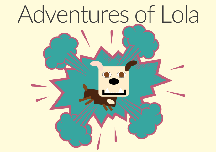 A cartoon rendering of Lola exploding out of a cloud of chaos.