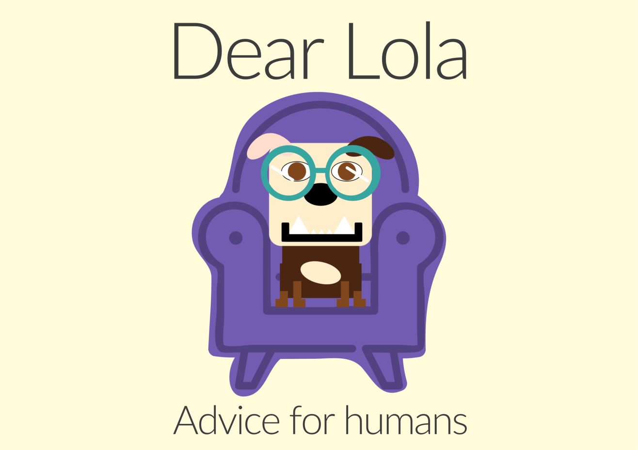 A cartoon rendering of Lola sitting in a chair wearing oversized glasses.