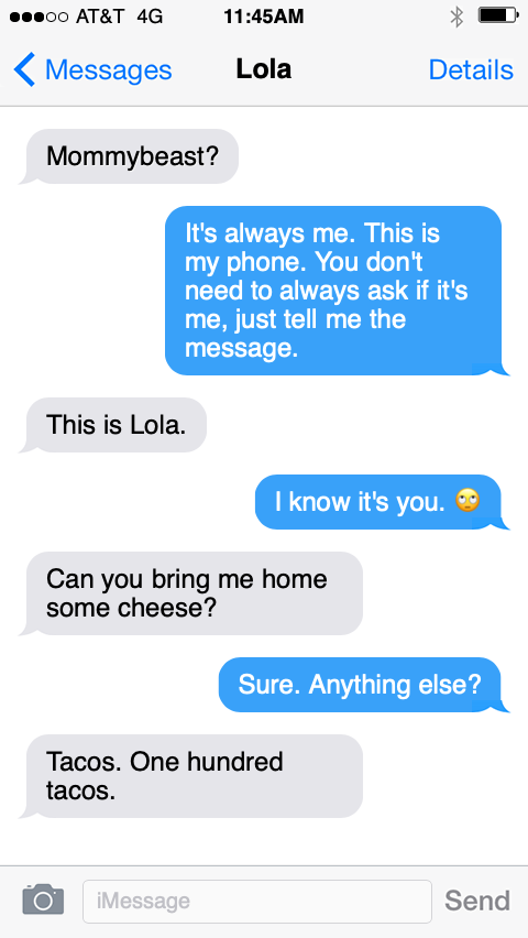 Text messages from Lola the English bulldog